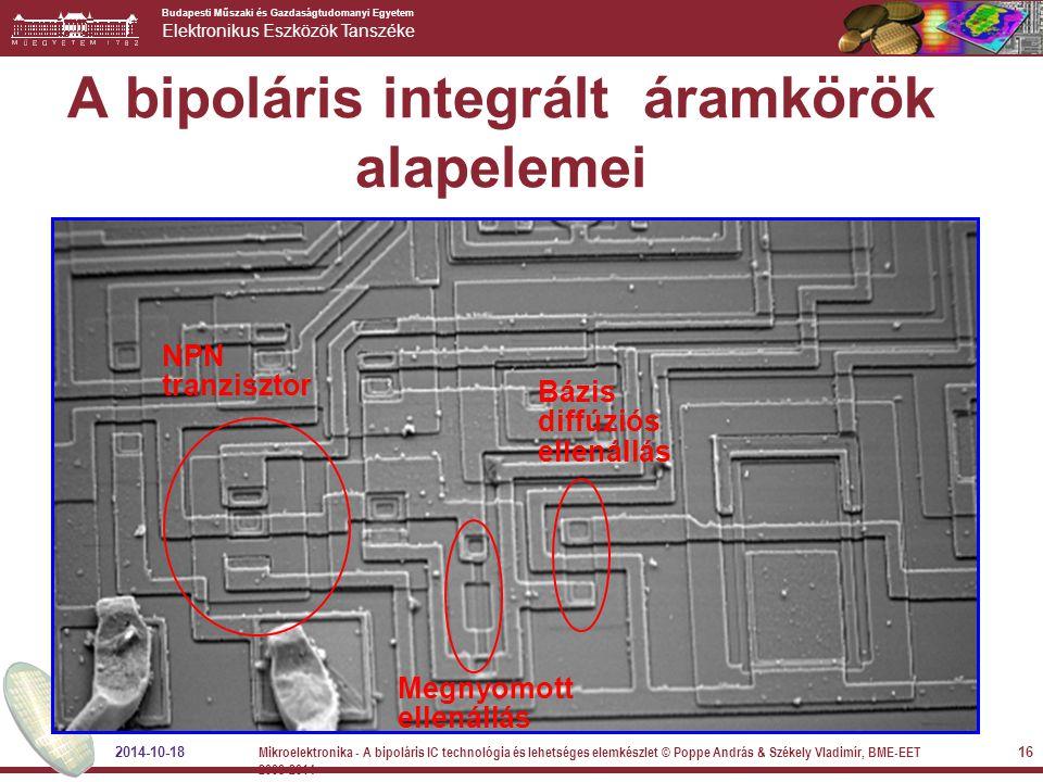 Budapesti Műszaki és Gazdaságtudomanyi Egyetem Elektronikus Eszközök Tanszéke A bipoláris integrált áramkörök alapelemei 2014-10-18 16 Mikroelektronik