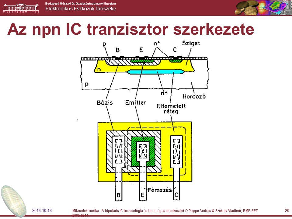 Budapesti Műszaki és Gazdaságtudomanyi Egyetem Elektronikus Eszközök Tanszéke Az npn IC tranzisztor szerkezete 2014-10-18 20 Mikroelektronika - A bipo