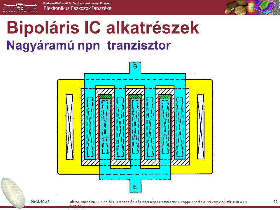 Budapesti Műszaki és Gazdaságtudomanyi Egyetem Elektronikus Eszközök Tanszéke Bipoláris IC alkatrészek Nagyáramú npn tranzisztor 2014-10-18 22 Mikroel