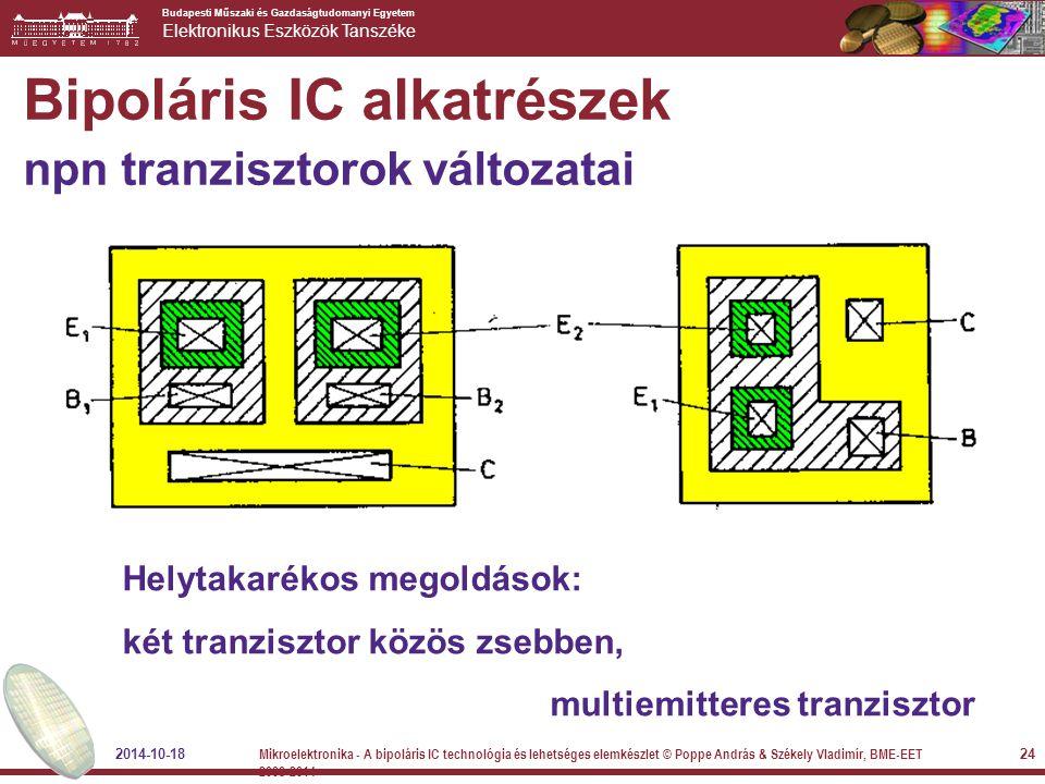 Budapesti Műszaki és Gazdaságtudomanyi Egyetem Elektronikus Eszközök Tanszéke Bipoláris IC alkatrészek npn tranzisztorok változatai Helytakarékos mego