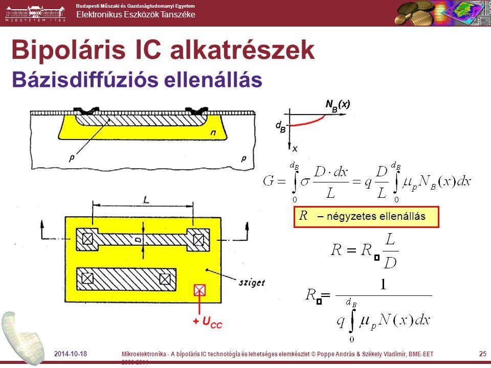 Budapesti Műszaki és Gazdaságtudomanyi Egyetem Elektronikus Eszközök Tanszéke Bipoláris IC alkatrészek Bázisdiffúziós ellenállás R – négyzetes ellenál