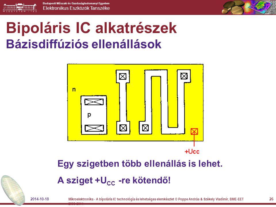Budapesti Műszaki és Gazdaságtudomanyi Egyetem Elektronikus Eszközök Tanszéke Bipoláris IC alkatrészek Bázisdiffúziós ellenállások Egy szigetben több