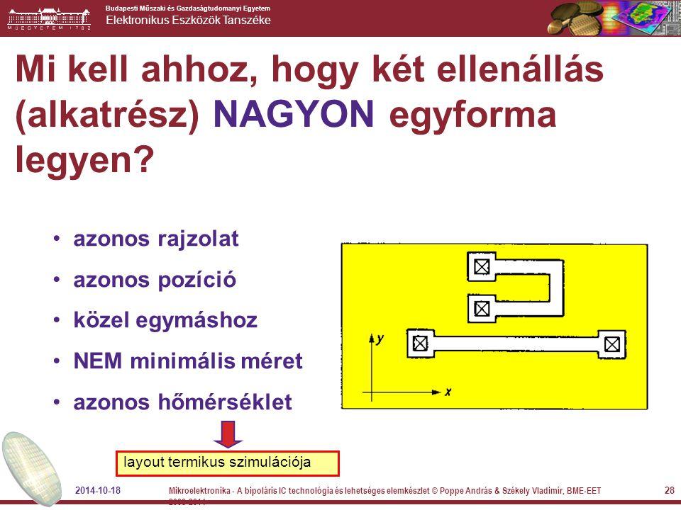 Budapesti Műszaki és Gazdaságtudomanyi Egyetem Elektronikus Eszközök Tanszéke Mi kell ahhoz, hogy két ellenállás (alkatrész) NAGYON egyforma legyen? a