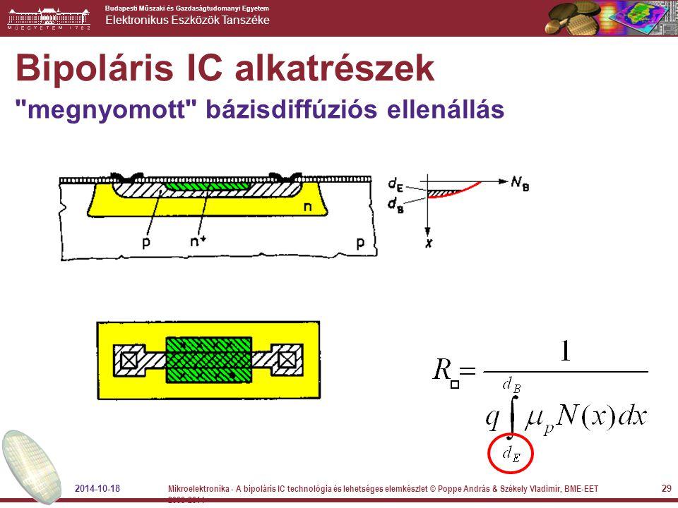 Budapesti Műszaki és Gazdaságtudomanyi Egyetem Elektronikus Eszközök Tanszéke Bipoláris IC alkatrészek