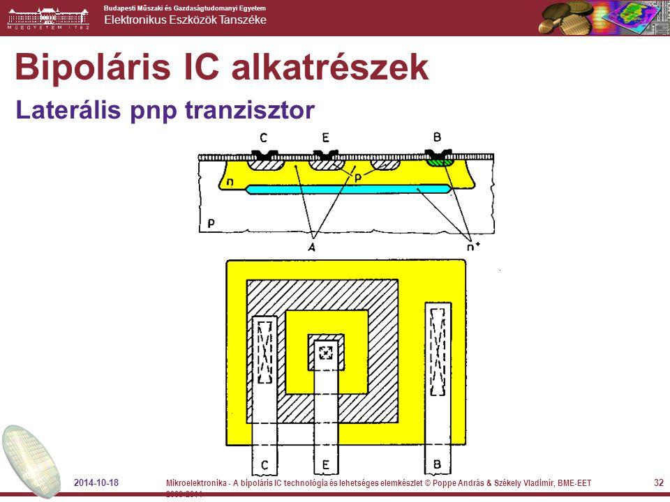 Budapesti Műszaki és Gazdaságtudomanyi Egyetem Elektronikus Eszközök Tanszéke Bipoláris IC alkatrészek Laterális pnp tranzisztor 2014-10-18 32 Mikroel