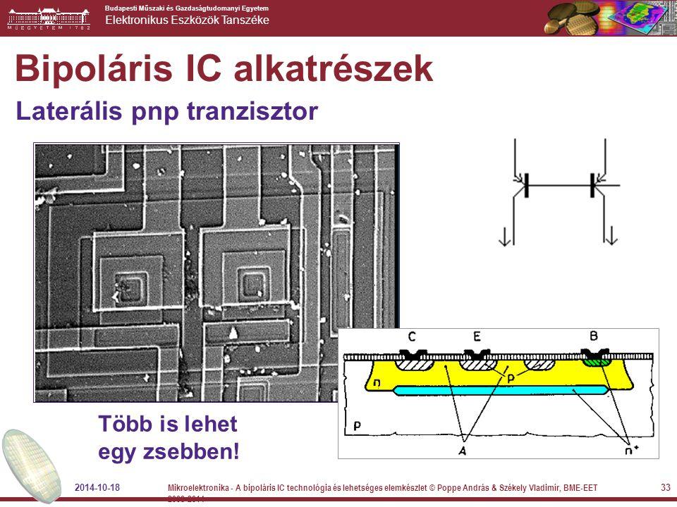 Budapesti Műszaki és Gazdaságtudomanyi Egyetem Elektronikus Eszközök Tanszéke Több is lehet egy zsebben! Bipoláris IC alkatrészek Laterális pnp tranzi