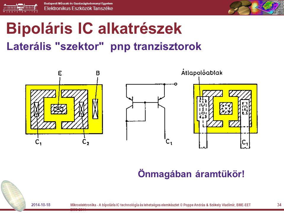 Budapesti Műszaki és Gazdaságtudomanyi Egyetem Elektronikus Eszközök Tanszéke Önmagában áramtükör! Bipoláris IC alkatrészek Laterális