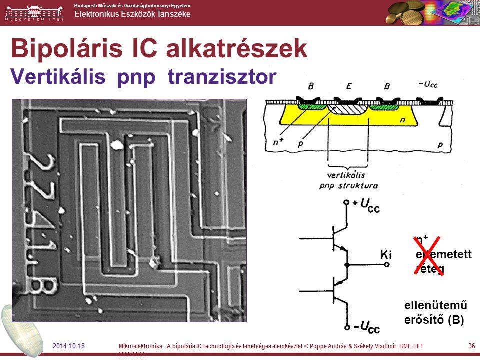 Budapesti Műszaki és Gazdaságtudomanyi Egyetem Elektronikus Eszközök Tanszéke n + eltemetett réteg ellenütemű erősítő (B) Bipoláris IC alkatrészek Ver