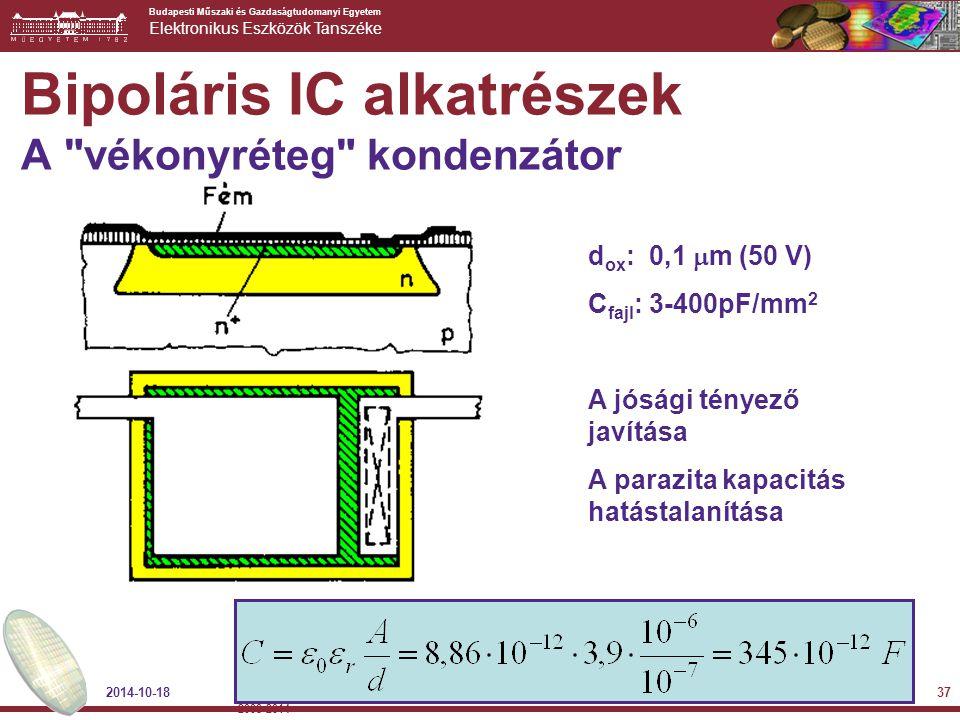 Budapesti Műszaki és Gazdaságtudomanyi Egyetem Elektronikus Eszközök Tanszéke d ox : 0,1  m (50 V) C fajl : 3-400pF/mm 2 A jósági tényező javítása A