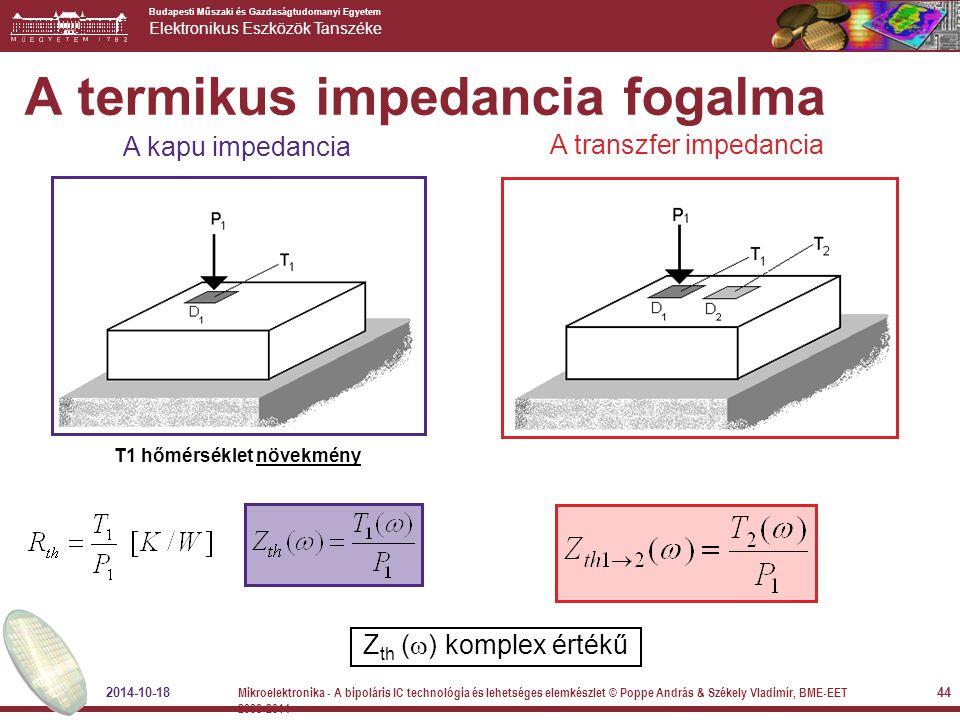 Budapesti Műszaki és Gazdaságtudomanyi Egyetem Elektronikus Eszközök Tanszéke A termikus impedancia fogalma A transzfer impedancia Z th (  ) komplex
