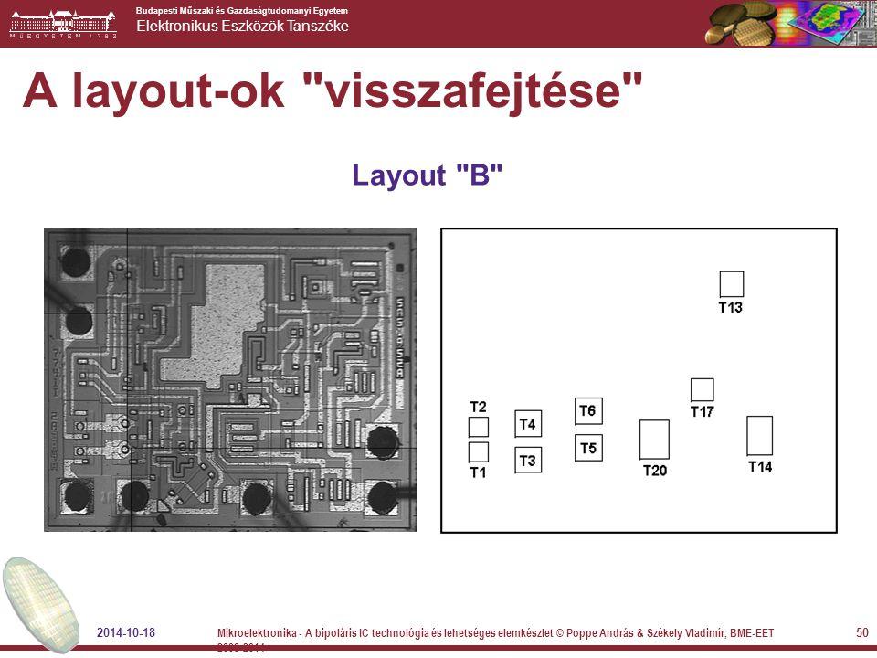 Budapesti Műszaki és Gazdaságtudomanyi Egyetem Elektronikus Eszközök Tanszéke A layout-ok