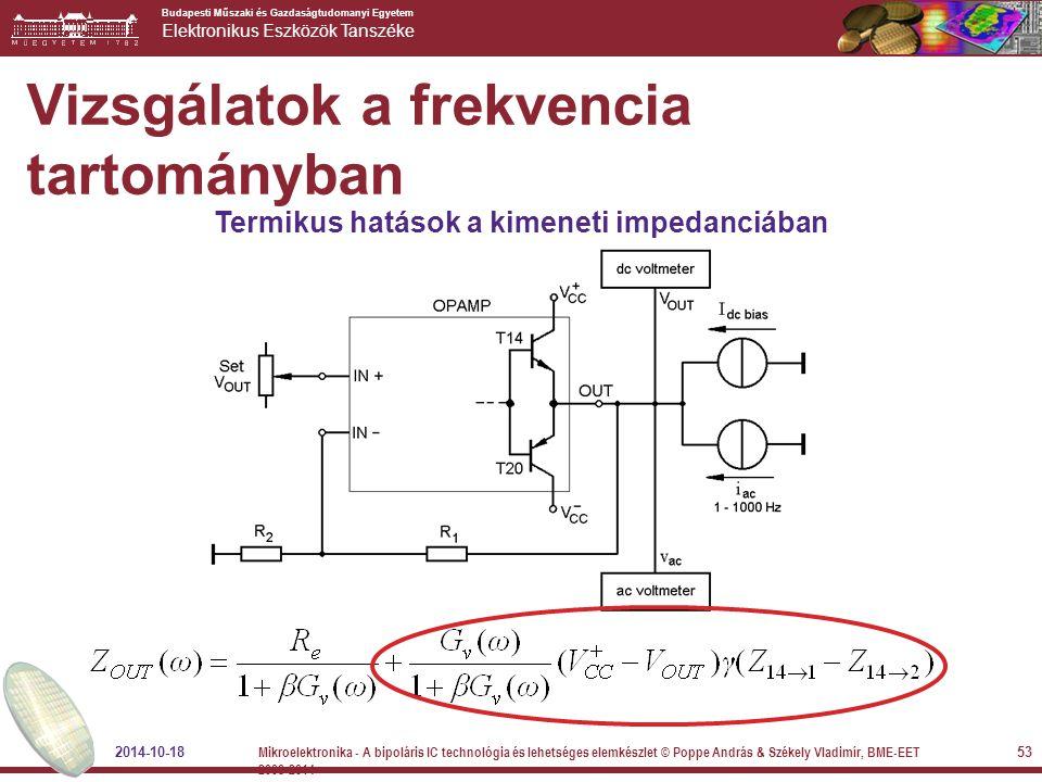Budapesti Műszaki és Gazdaságtudomanyi Egyetem Elektronikus Eszközök Tanszéke Termikus hatások a kimeneti impedanciában Vizsgálatok a frekvencia tarto