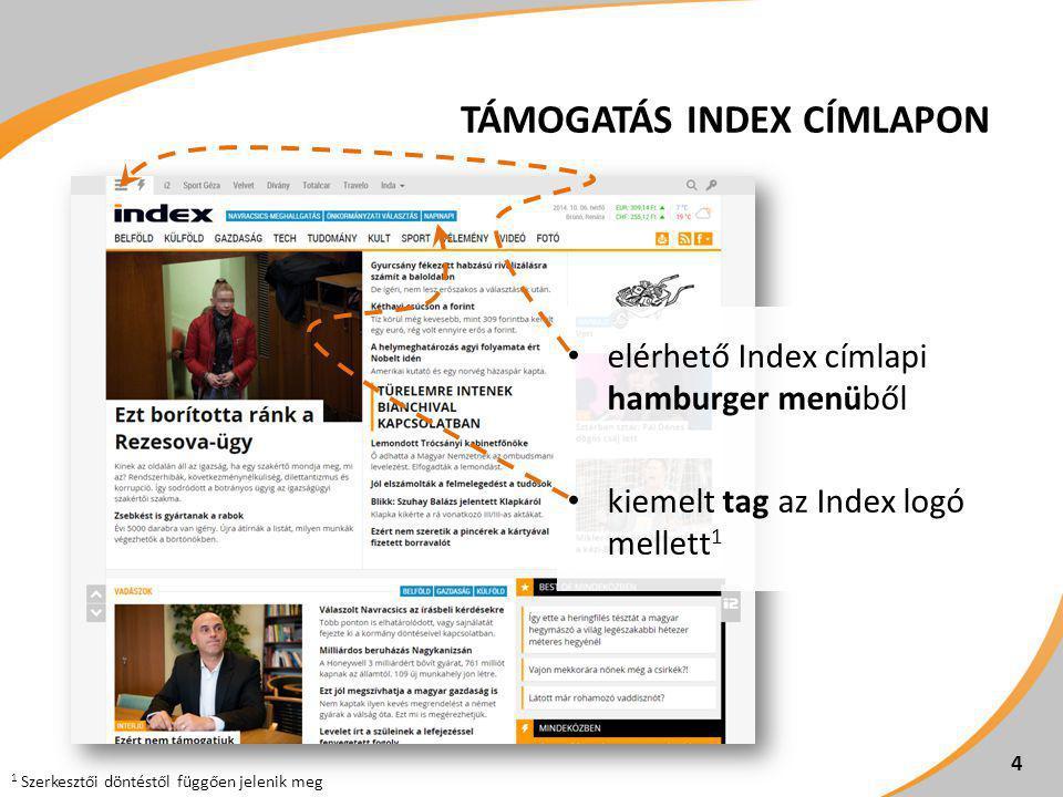"""TÁMOGATÓI LEHETŐSÉGEK 5 FelületMegjelenésNet-net ár Index Napi napi (desktop) Fejléc szponzoráció (640x100 px, statikus) 1 350.000 Ft/hó Index Napi napi (tablet)Super leaderboard (970x90 px) 2 Index mobilweboldal + alkalmazások Napi napi cikkek mellett Támogatói logó (vektoros, lehetőség szerint fehér hátterű logó) Index Napi napi (desktop)Half page (300x600 px) 390.000 Ft/hó Index Napi napi (tablet)Half page (300x600 px) 2 Index Napi napi mobilweboldalon Mobil banner """"B (480x240 px) 3 1 A szponzorációs megjelenést az Index készíti a Hirdető arculati anyagai alapján."""
