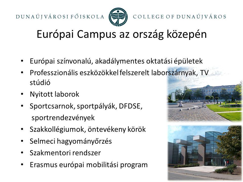 Európai Campus az ország közepén Európai színvonalú, akadálymentes oktatási épületek Professzionális eszközökkel felszerelt laborszárnyak, TV stúdió N