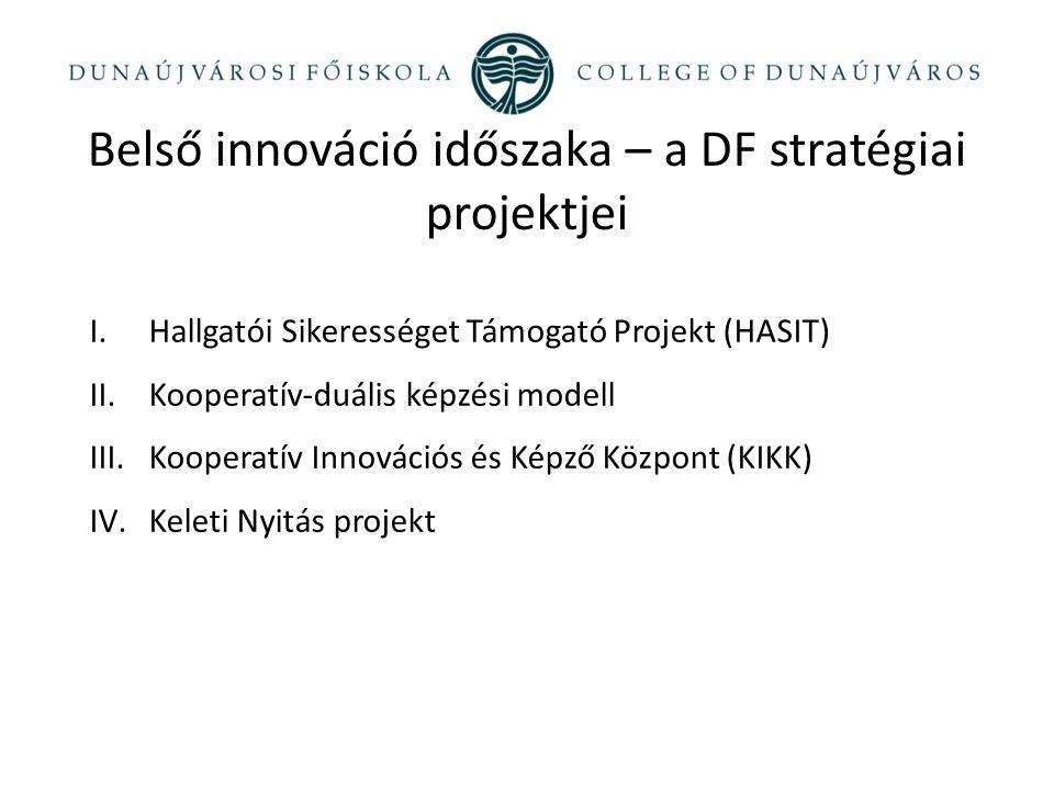 I.Hallgatói Sikerességet Támogató Projekt (HASIT) II.Kooperatív-duális képzési modell III.Kooperatív Innovációs és Képző Központ (KIKK) IV.Keleti Nyitás projekt Belső innováció időszaka – a DF stratégiai projektjei