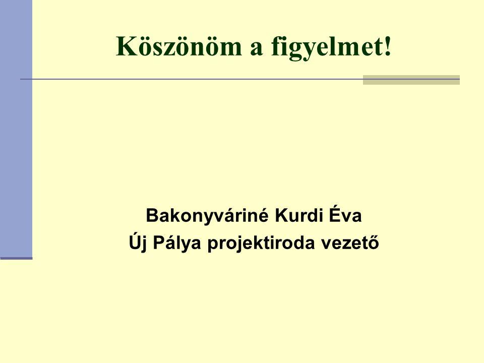 Köszönöm a figyelmet! Bakonyváriné Kurdi Éva Új Pálya projektiroda vezető