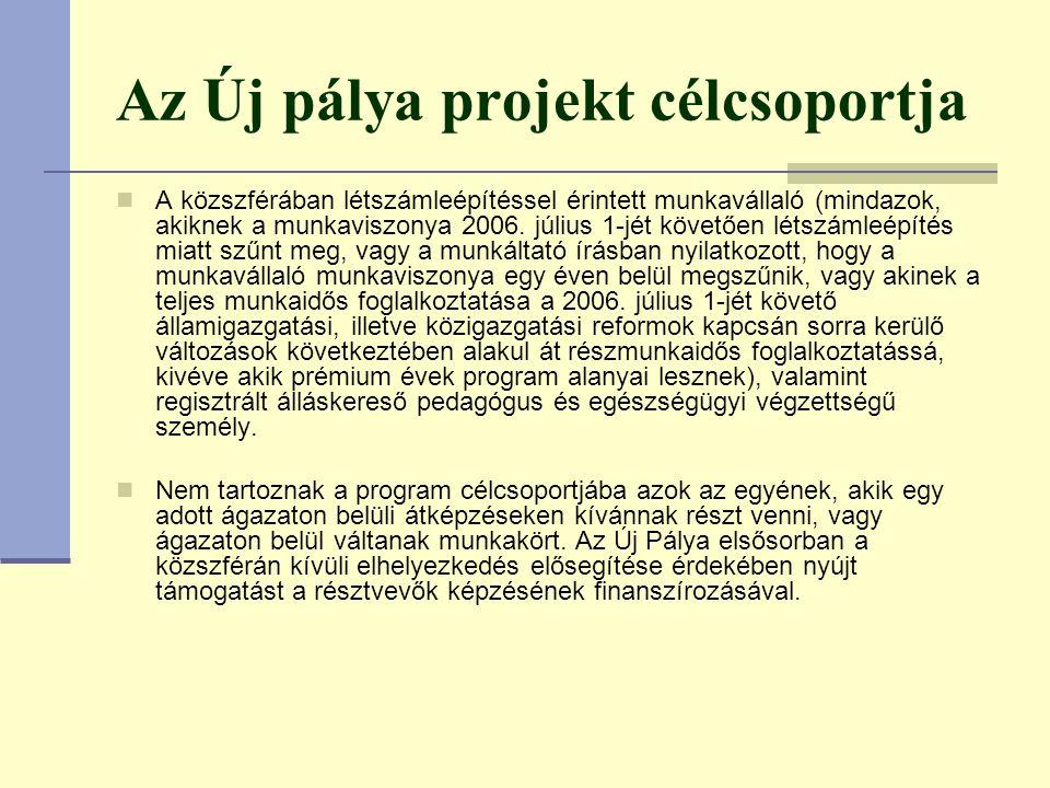 Az Új pálya projekt célcsoportja A közszférában létszámleépítéssel érintett munkavállaló (mindazok, akiknek a munkaviszonya 2006.