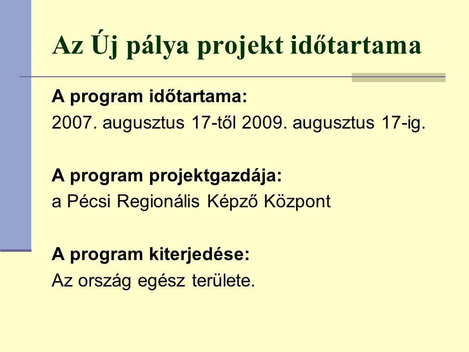 Az Új pálya projekt időtartama A program időtartama: 2007.