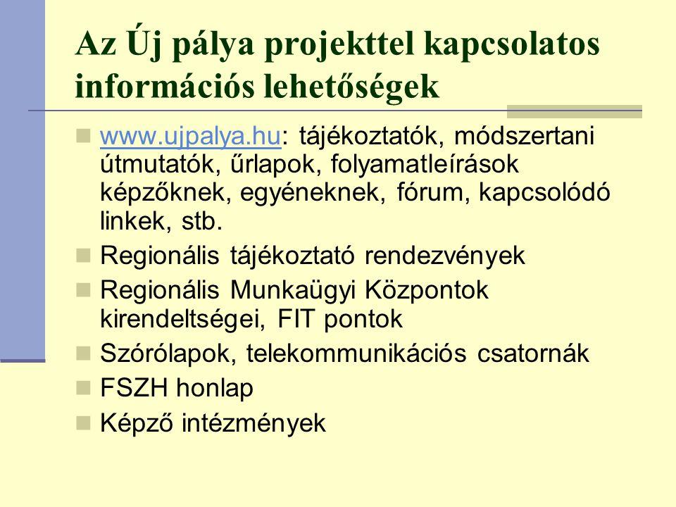 Az Új pálya projekttel kapcsolatos információs lehetőségek www.ujpalya.hu: tájékoztatók, módszertani útmutatók, űrlapok, folyamatleírások képzőknek, egyéneknek, fórum, kapcsolódó linkek, stb.