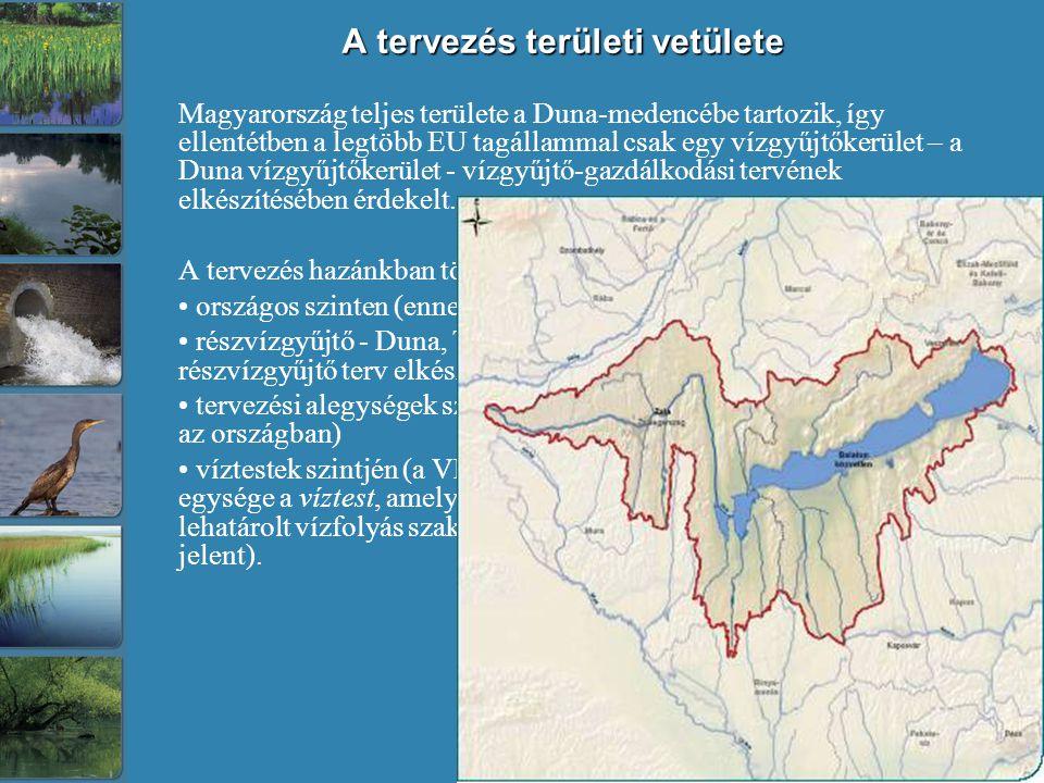 A tervezés területi vetülete Magyarország teljes területe a Duna-medencébe tartozik, így ellentétben a legtöbb EU tagállammal csak egy vízgyűjtőkerület – a Duna vízgyűjtőkerület - vízgyűjtő-gazdálkodási tervének elkészítésében érdekelt.