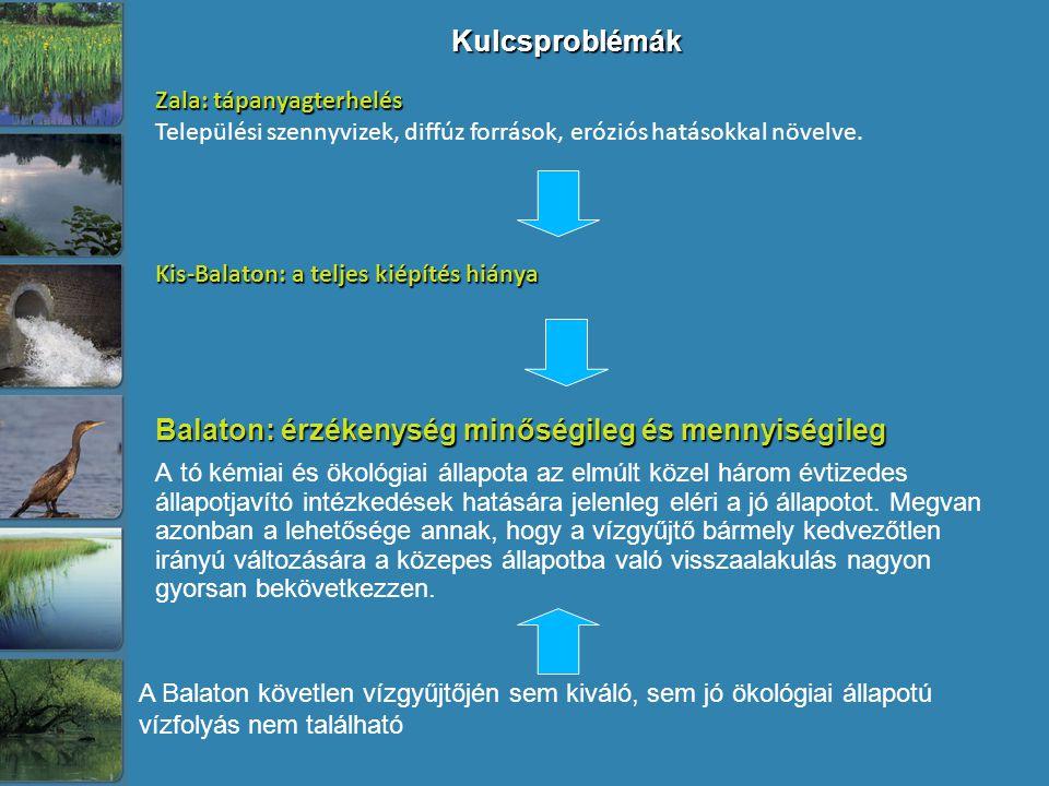 Kulcsproblémák Balaton: érzékenység minőségileg és mennyiségileg A tó kémiai és ökológiai állapota az elmúlt közel három évtizedes állapotjavító intézkedések hatására jelenleg eléri a jó állapotot.