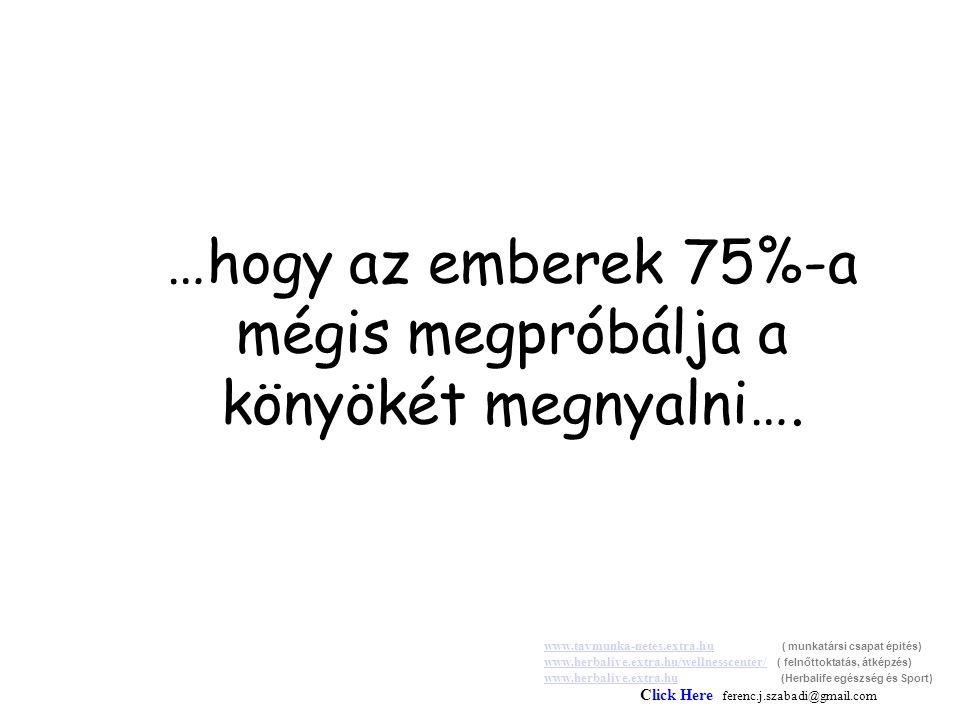 …hogy az emberek 75%-a mégis megpróbálja a könyökét megnyalni….