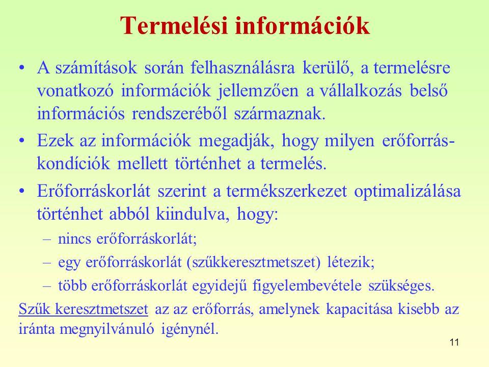 Termelési információk A számítások során felhasználásra kerülő, a termelésre vonatkozó információk jellemzően a vállalkozás belső információs rendszer