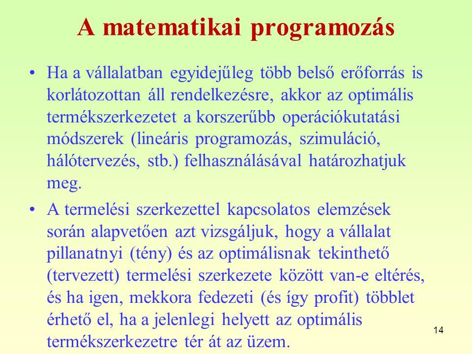 A matematikai programozás Ha a vállalatban egyidejűleg több belső erőforrás is korlátozottan áll rendelkezésre, akkor az optimális termékszerkezetet a