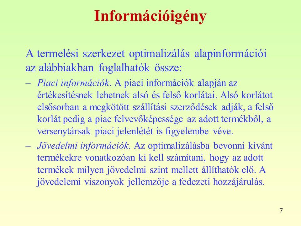 Információigény A termelési szerkezet optimalizálás alapinformációi az alábbiakban foglalhatók össze: –Piaci információk. A piaci információk alapján