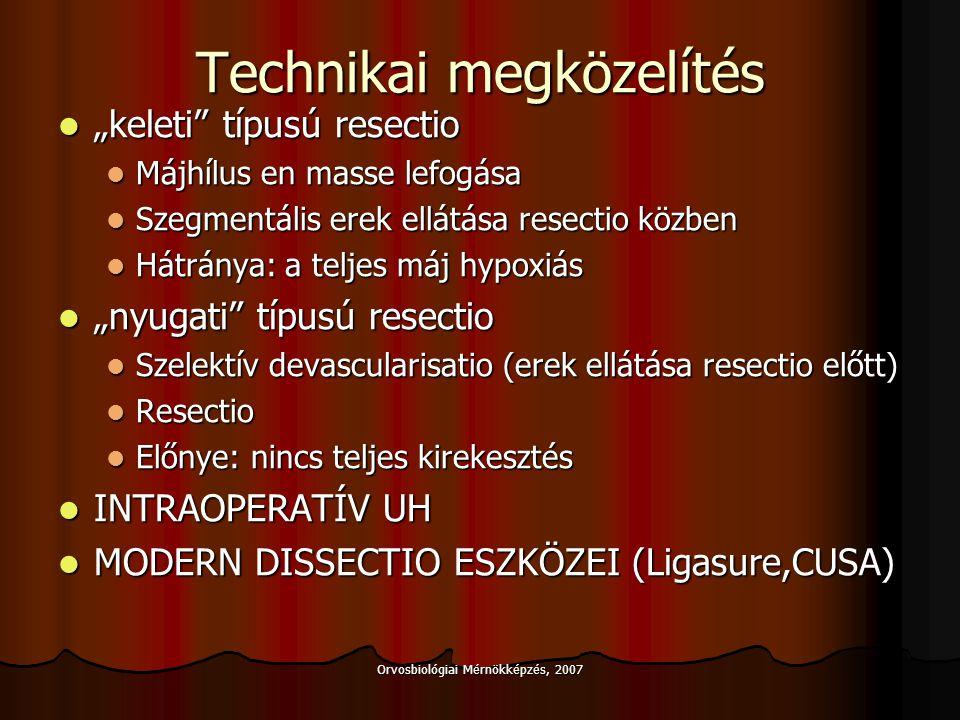 Orvosbiológiai Mérnökképzés, 2007 Resectio alternatívái Localis ablatio Localis ablatio Alkoholos infiltratio, cryotherapia, RFA Alkoholos infiltratio, cryotherapia, RFA Szegmentalis portális embolizáció Szegmentalis portális embolizáció Az ellenoldali májlebeny megnövekedése – rezekabilitás.