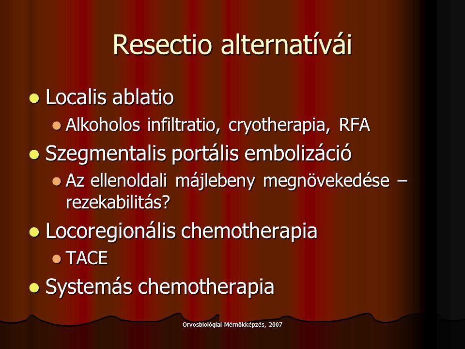 Orvosbiológiai Mérnökképzés, 2007 Eredmények, HCC, Eredmények, HCC, 5 éves túlélés Nem cirrhotikus betegek Resectio: 52% Resectio: 52% Cirrhotikus betegek HCC (tumor < 5 cm) Child A: Resectio:10 - 40% Child A: Resectio:10 - 40% Child B: Transzplantáció75% Child B: Transzplantáció75% Cirrhotikus betegek HCC (tumor > 5 cm) Resectio / Transplantatio < 20% Resectio / Transplantatio < 20% Hepatitis C Hepatitis C Transzplantáció> 80% Transzplantáció> 80% Hepatitis B (+ DNA):lamivudine/Immunoglobulin Hepatitis B (+ DNA):lamivudine/Immunoglobulin Transzplantáció.
