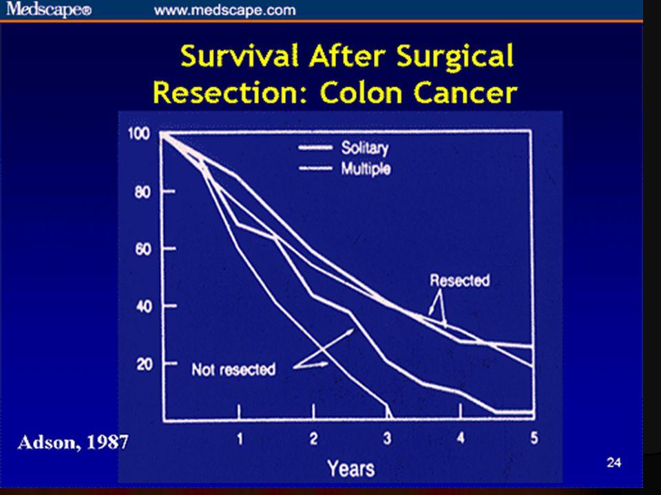 CRC májmetasztázis, túlélés (1997, Lehnert)