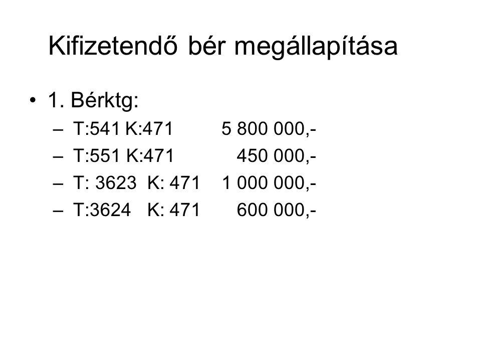 Kifizetendő bér megállapítása 1. Bérktg: – T:541K:4715 800 000,- – T:551 K:471 450 000,- – T: 3623 K: 4711 000 000,- – T:3624 K: 471 600 000,-