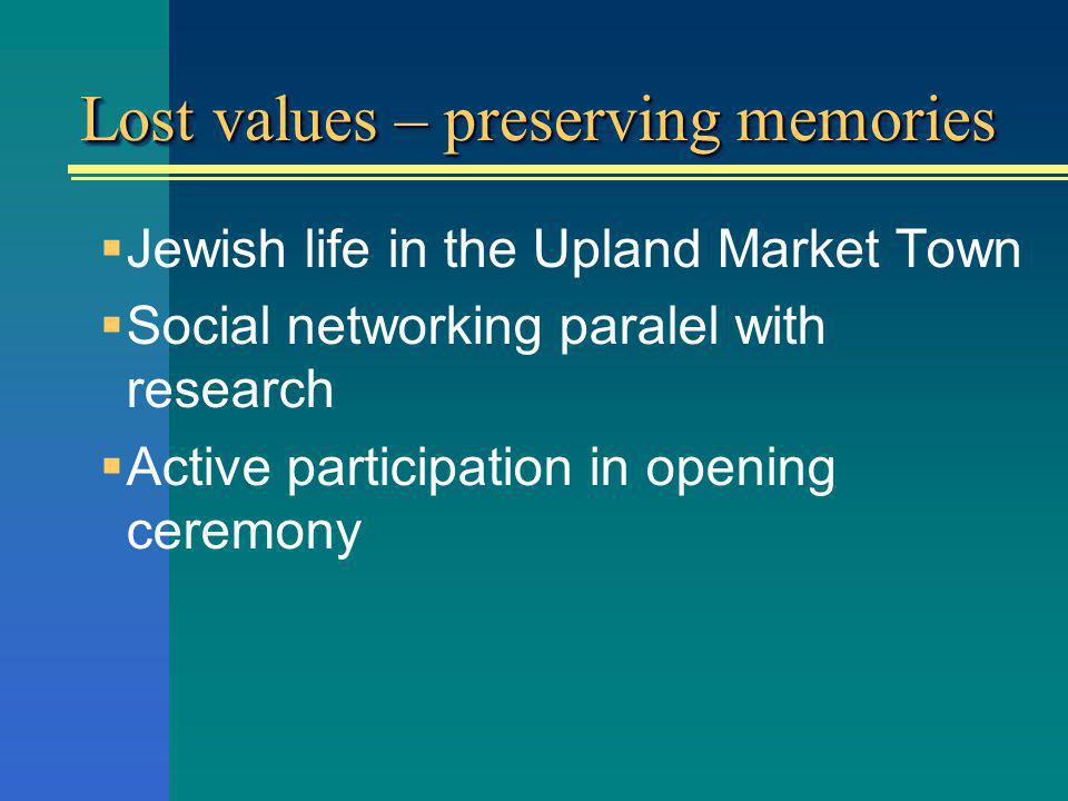 Lost values – preserving memories Jewish life in the Upland Market Town Social networking paralel with research Active participation in opening ceremony