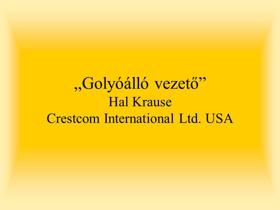 """Golyóálló vezető Hal Krause Crestcom International Ltd. USA"