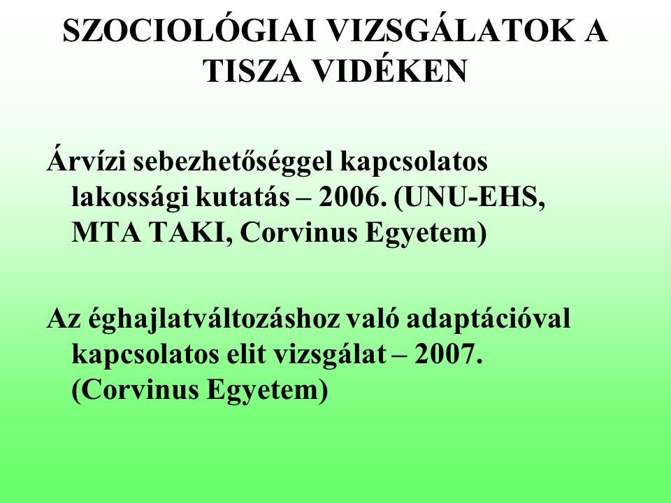 9aa5e2f326 SZOCIOLÓGIAI VIZSGÁLATOK A TISZA VIDÉKEN Árvízi sebezhetőséggel kapcsolatos  lakossági kutatás – 2006.