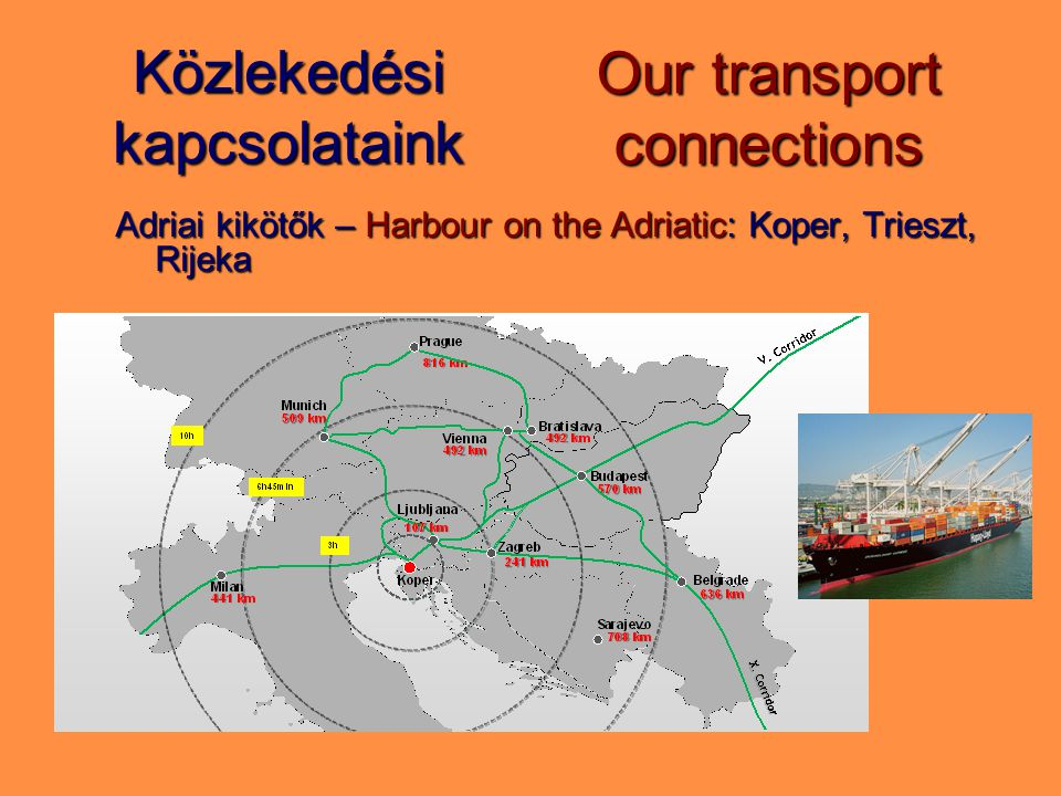 Közlekedési kapcsolataink Adriai kikötők – Harbour on the Adriatic: Koper, Trieszt, Rijeka Our transport connections