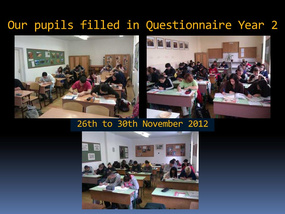 Our pupils filled in Questionnaire Year 2 26th to 30th November 2012
