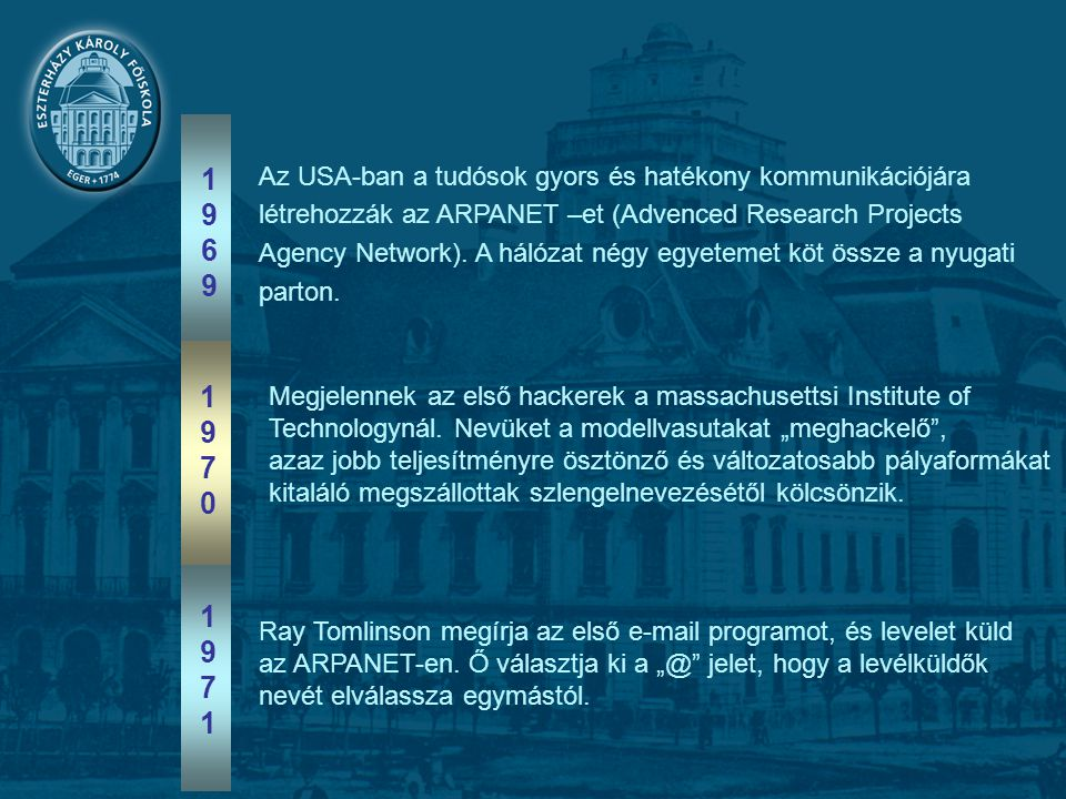 Az USA-ban a tudósok gyors és hatékony kommunikációjára létrehozzák az ARPANET –et (Advenced Research Projects Agency Network).