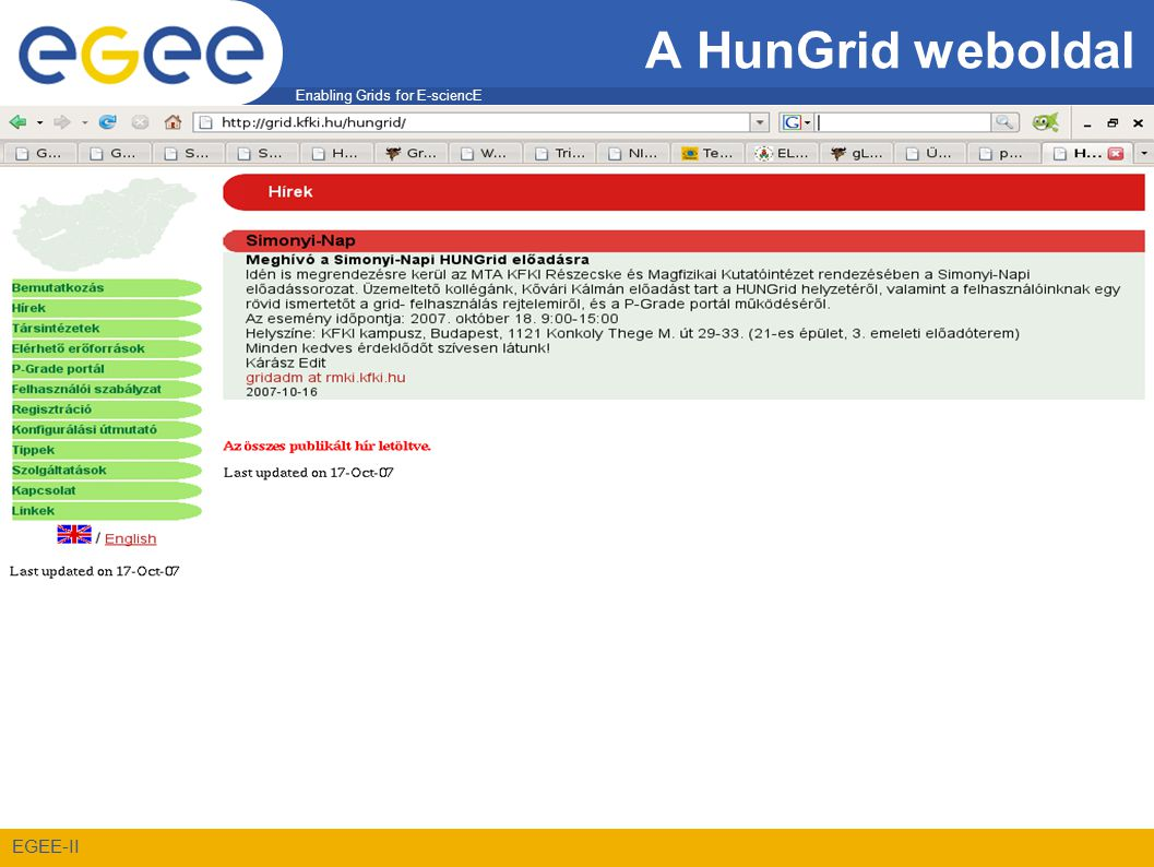 Enabling Grids for E-sciencE EGEE-II A HunGrid weboldal