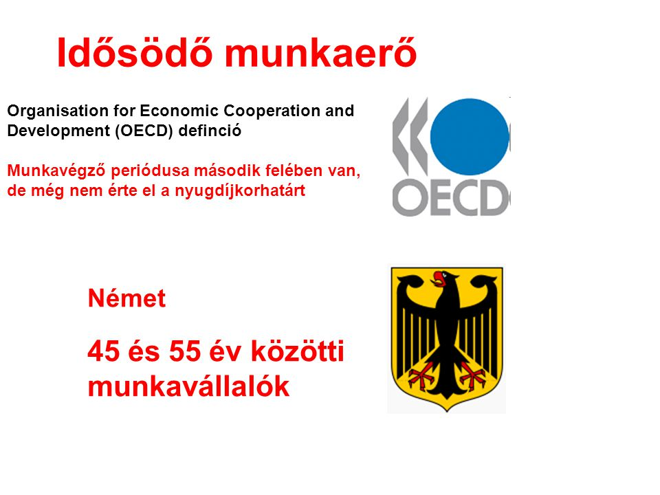 Idősödő munkaerő Organisation for Economic Cooperation and Development (OECD) definció Munkavégző periódusa második felében van, de még nem érte el a nyugdíjkorhatárt Német 45 és 55 év közötti munkavállalók