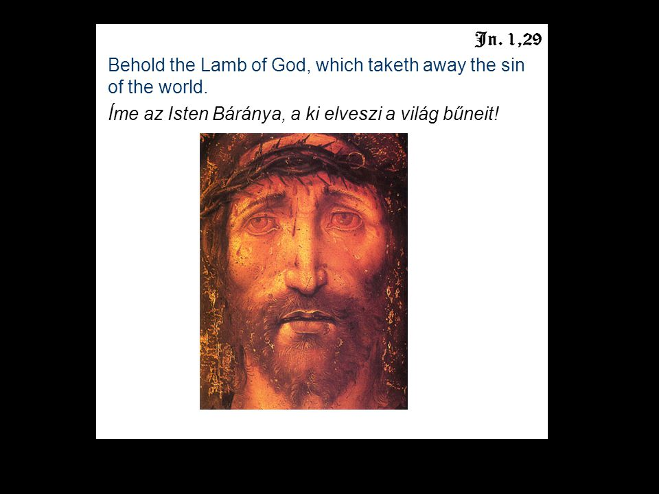 Jn. 1,29 Behold the Lamb of God, which taketh away the sin of the world.