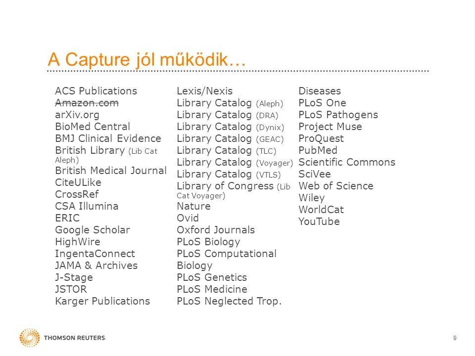 A Capture jól működik… 9 ACS Publications Amazon.com arXiv.org BioMed Central BMJ Clinical Evidence British Library (Lib Cat Aleph) British Medical Journal CiteULike CrossRef CSA Illumina ERIC Google Scholar HighWire IngentaConnect JAMA & Archives J-Stage JSTOR Karger Publications Lexis/Nexis Library Catalog (Aleph) Library Catalog (DRA) Library Catalog (Dynix) Library Catalog (GEAC) Library Catalog (TLC) Library Catalog (Voyager) Library Catalog (VTLS) Library of Congress (Lib Cat Voyager) Nature Ovid Oxford Journals PLoS Biology PLoS Computational Biology PLoS Genetics PLoS Medicine PLoS Neglected Trop.