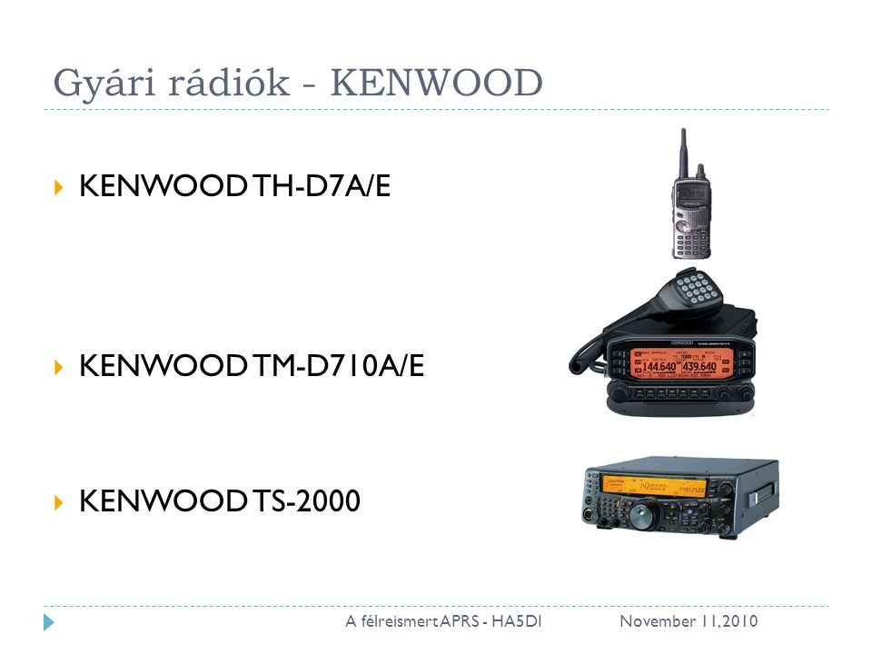 Gyári rádiók - KENWOOD  KENWOOD TH-D7A/E  KENWOOD TM-D710A/E  KENWOOD TS-2000 November 11, A félreismert APRS - HA5DI