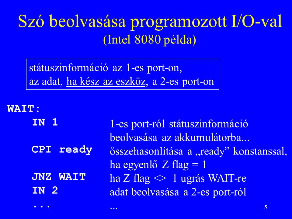 5 Szó beolvasása programozott I/O-val (Intel 8080 példa) WAIT: IN 1 CPI ready JNZ WAIT IN 2...