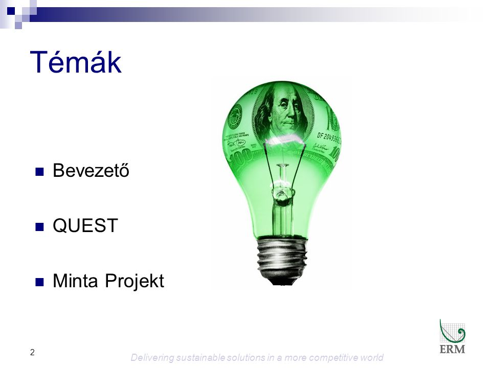 2 Témák  Bevezető  QUEST  Minta Projekt Delivering sustainable solutions in a more competitive world