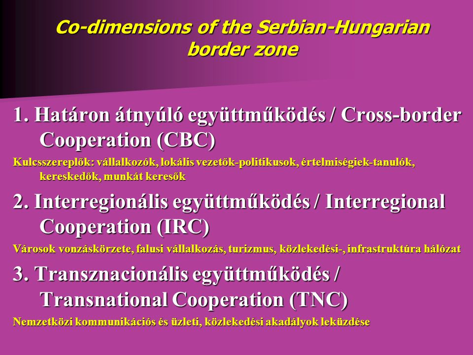 Co-dimensions of the Serbian-Hungarian border zone 1.