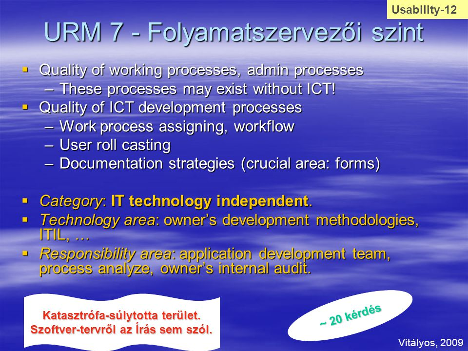 URM 7 - Folyamatszervezői szint  Quality of working processes, admin processes –These processes may exist without ICT.