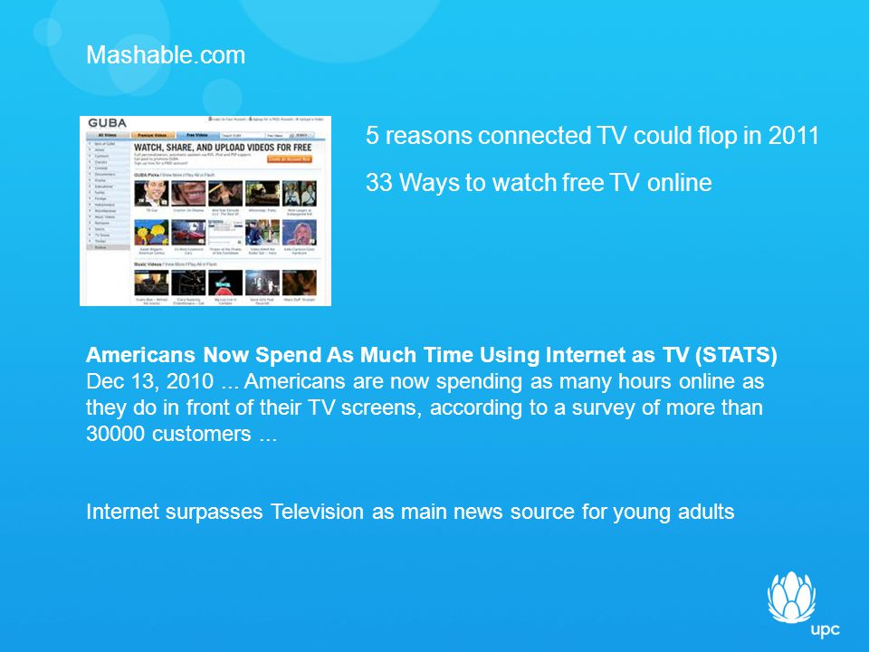 Mashable.com 5 reasons connected TV could flop in Ways to watch free TV online Americans Now Spend As Much Time Using Internet as TV (STATS) Dec 13,