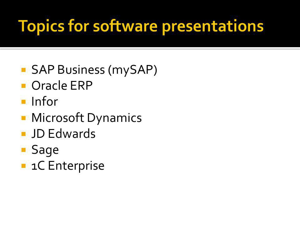  SAP Business (mySAP)  Oracle ERP  Infor  Microsoft Dynamics  JD Edwards  Sage  1C Enterprise